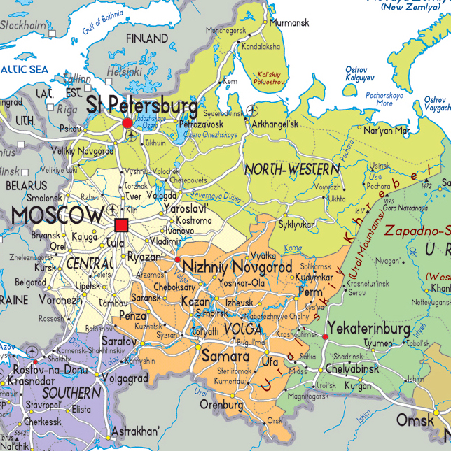 Russia Moscow St Petersburg Tours To Russia Transsiberian - Nalchik map